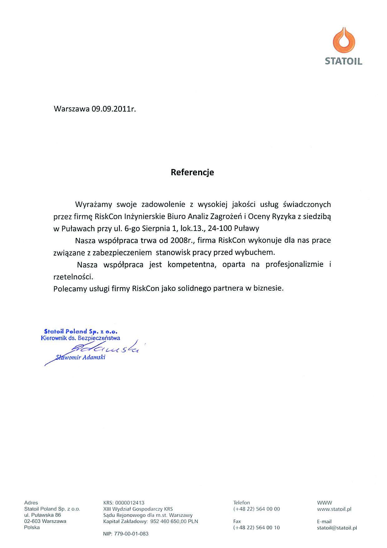 referencje statoil - O firmie