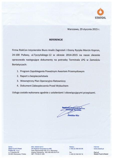 referencje statoil riskcon 2015 - O firmie